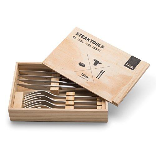 höfats - Steakbesteck 8-teilig mit Steakmesser, Steakgabel und Holzkiste - Besteckset 4 Personen - rostfreier Edelstahl