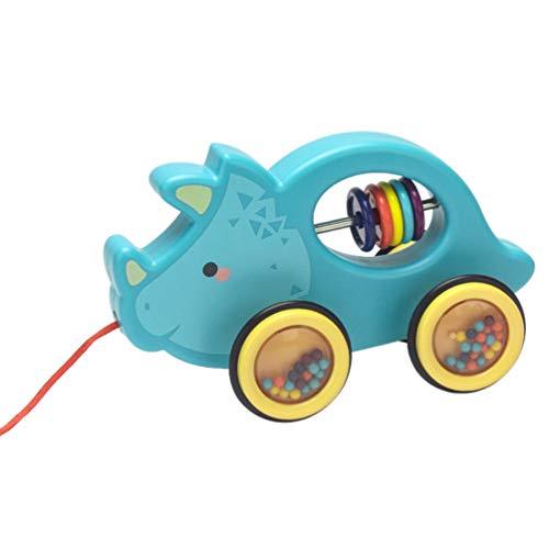 VILLCASE Animal de Juguete de Empuje Y Tirar Bebé Andador Carrito de Aprendizaje Andador para Bebés Niñas Niños Azul Cielo