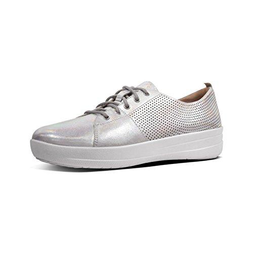 Fit Flop F-Sporty TM II Lace Up Perf Sneakers, Chaussures de Cross Femme, Argenté (Silver 011), 39 EU