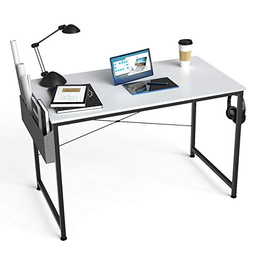 HOMIDEC Escritorio de Ordenador, Mesa de Oficina pequeño, Mesa de Ordenador con Bolsa de Almacenamiento,Fácil de Montar, Mesa de Escritura para Oficina en Casa,80 x 60 x 75 cm (Blanco)