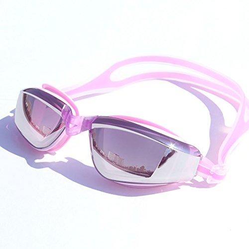 Swimming goggles Antivaho y gafas impermeables de la natación del HD, policarbonato llano y cómodo, tres colores opcionales (Color : Pink)