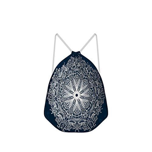 NC83 1-pack voor 6 donkerblauwe vlinders mandela trekkoord rugzak vrije tijd polyester sporttassen pak zwemmen voor meisjes jongens kinderen 41 x 34 cm (aanpasbaar/groothandel) Eén maat wit