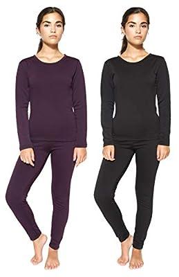 2 Pack: Womens Thermal Underwear Set Thermal Underwear for Women Fleece Lined Legging Long Johns Skiing Apparel-Set 2,XL