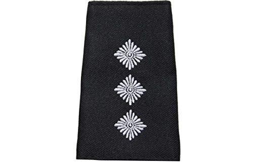 1 par de trabillas para solapas para el ejército alemán. Color: negro con palo blanco o dorado. Hauptmann. Talla única