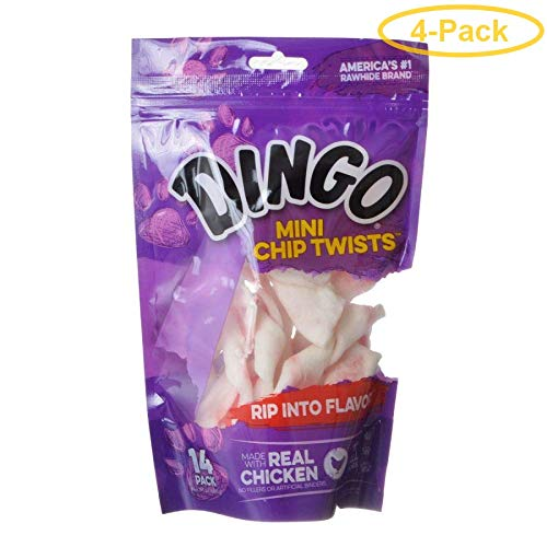 """Dingo Chip Twists Meat & Rawhide Chew Mini - 3.25"""" (14 Pack) - Pack of 4"""