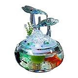 LSHUAIDJ Adornos de Agua del Acuario Feng Shui Afortunado Simple Fuente Creativa Moderna Cilindro de Cristal Sala de Estar Decoraciones para el hogar pecera de Escritorio
