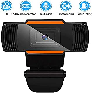MetFut HD Webcam with Microphone, Desktop PC Web Camera Plug and Play USB Computer Camera for Laptop Online Studying, Video Calling and Conferencing