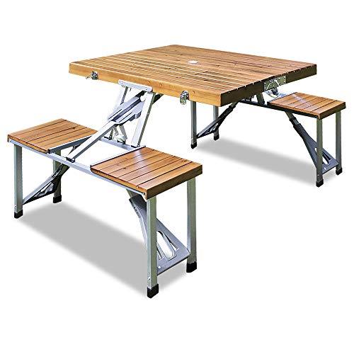 Deuba Alu Campingtisch Koffertisch mit Stühlen Klappbar Tragegriff Schirmhalterung Holz Sitzgarnitur Campingmöbel Set