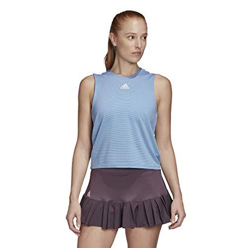 adidas Camiseta sin Mangas de Tenis Camo Primeblue para Mujer, Mujer, Camiseta de Tirantes Anchos, GLL42, Fácil Azul/Blanco, XS