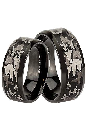 LaRaso & Co Wedding Set for Him and Her - Black Camo Design - Wedding Rings for Him Size 9 and Her Size 7