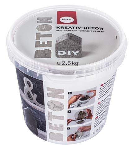 Rayher 34153000 Kreativ-Beton, Eimer 2,5 kg, hellgrau, Bastelbeton, Beton zum Basteln, Beton zum Gießen, Betonpulver zum Gießen, staubarm, gebrauchsfertig, mit Wasser anrühren