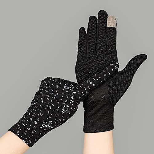 Guantes de algodón de Verano para Mujer a la Moda, Guantes de conducción con Pantalla táctil UV de Punto de impresión de Color sólido, Transpirable, Antideslizante, para Mujer-Print Black