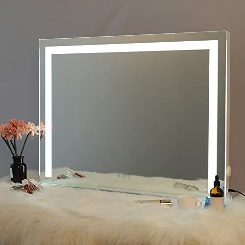WAYKING Make-up-Schminkspiegel mit LED-Lichtband, Touchscreen-Steuerung, großer Kosmetikspiegel mit Dimmer, LED-Lichtband, Tischspiegel (B x H) 80 x 60 cm