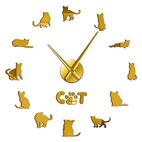 xinxin Reloj de Pared Moderno Tonkinese Cats Breed Reloj de Pared silencioso Animales Kitty Pet Autoadhesivo DIY Reloj 3D Reloj de Cuarzo Reloj con Pilas para Sala de Estar y Dormitorio, etc.