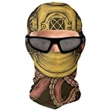 N/A Full Face Mask Hand Drawing Vintage Diver Helmet Octopus Hood Sunscreen Mask Dual Layer Cold For Men And...