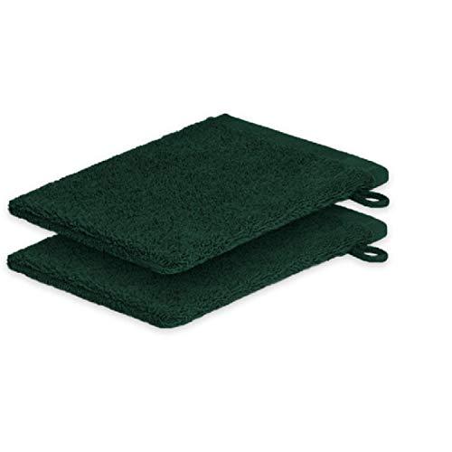 Lot de 2 gants de toilette ExKLUSIV HEIMTEXTIL 15 x 21 cm 500 g/m², vert foncé, 2x Waschhandschuh 15 x21 cm