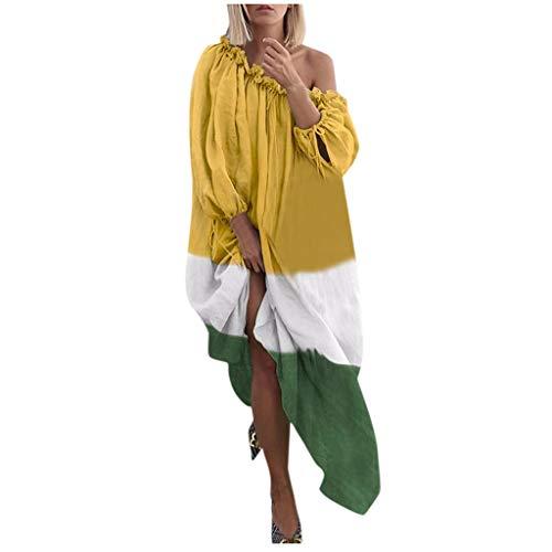 LSAltd Mode Frauen Sexy Weg Von Der Schulter Plus Größe Täglich Langes Kleid Süße Rüschen Gefaltete Langarm Baggy Maxi Kleid