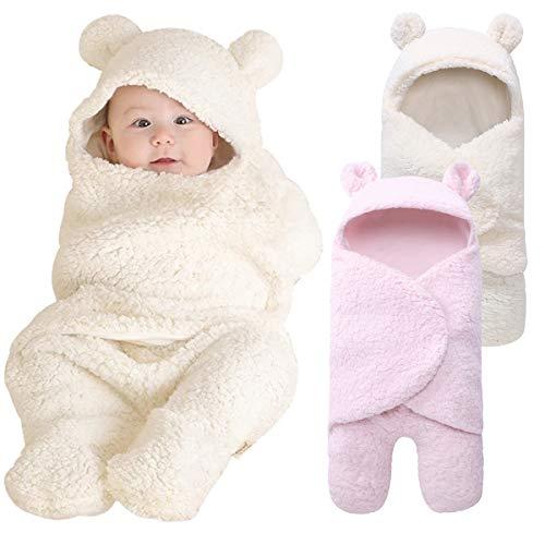 Haokaini Pasgeboren warme winter slaapzak, baby slaapzak Swaddle Wraps, wandelwagen Bed deken voor baby Kleur: wit