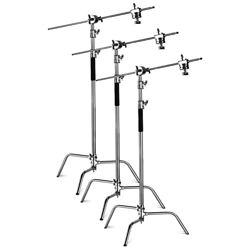 Neewer Pro Stainless Steel Reflector C-Stand Adjustable 10 feet/3 Meters with 4 feet/1.2 Meters Holding Arm and 2 Pieces Grip Head for Photography Studio Video Reflector,Monolight and Others (3-Pack)
