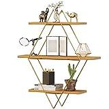 Estantería de pared de madera, moderna, flotante, diseño industrial, estantería para libros, decoración, acero inoxidable (dorado)