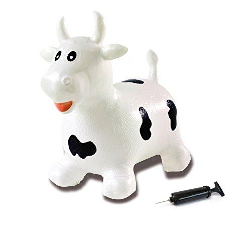 Jamara 460318 - Toro animal saltarín blanco/negro con bomba - Orejas como...