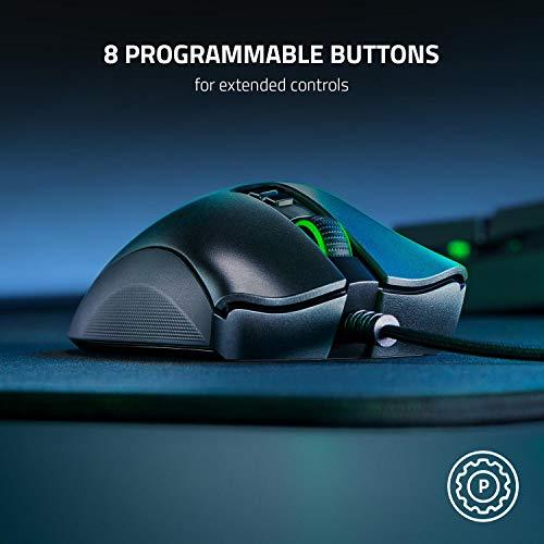 Razer DeathAdder V2 – Kabelgebundene USB Gaming Maus mit ergonomischen Komfort (Optische Switches, optischer Fokus+ 20K Sensor, Speedflex Kabel, integrierter Speicher) Schwarz - 7