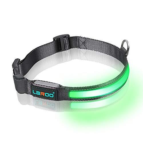 LaRoo ペット用LED光る首輪 充電式 耐用 ナイロン発光首輪 外れない 長さ調節可36~51cm 夜散歩 安全対策 ...