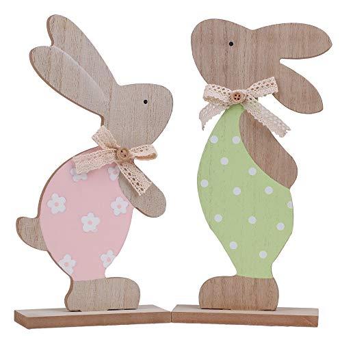 Victor's Workshop Decorazioni pasquali 2 Set Coniglietti Alti 24 cm Figure Decorative Decorazioni in Legno Decorazioni Primaverili Giocattoli per Bambini Figure Decorative per la Primavera