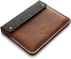 Funda/Cubierta para MacBook Pro 13/15/16 pulgadas 100% fieltro de lana hecho a mano, cuero estilo Crazy Horse marrón,...