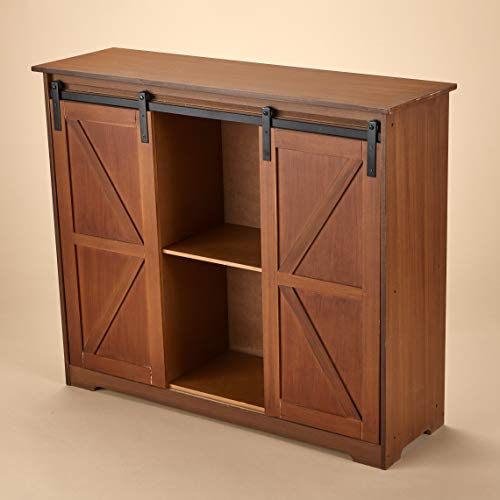 The Lakeside Collection Distressed Sideboard Buffet Cabinet with Sliding Rail Barn Doors - Brown