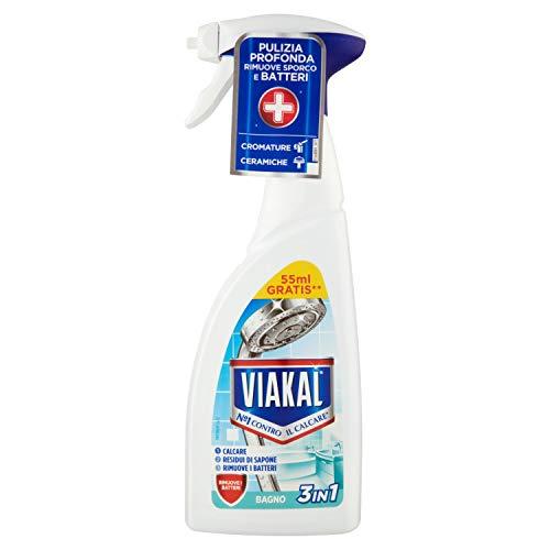 VIAKAL Bagno 3 in 1 Spray Anticalcare 500 ml, Elimina i Batteri