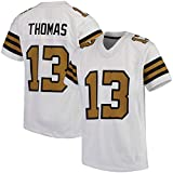 Maillot de Football américain New Orleans Saints Michael Thomas 13#, Maillot de Rugby Unisexe équipe vêtements Rugby Sport Shirt brodé Haut imprimé à Manches Courtes-Gold-XL(185~190CM)