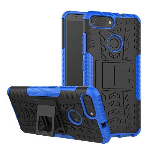 pinlu® Custodia per ASUS ZenFone Max Plus M1 ZB570TL Smartphone Armatura Rugged Heavy Duty Cover Doppio Strato TPU + PC Antiurto Protettiva Case Pneumatico Modello Blu