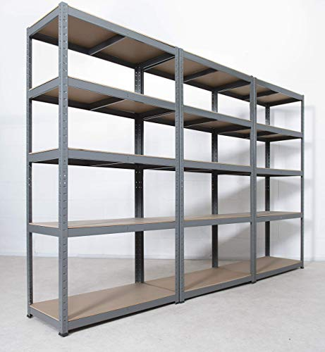 Extra Heavy Duty Shelving: 3 Units, 176h x 90w x 45d (cm) | 265kg Per Shelf | Grey, 5 Tier Garage Storage Racking | 5 Adjustable Shelves, Boltless Assembly | Storage Affairs