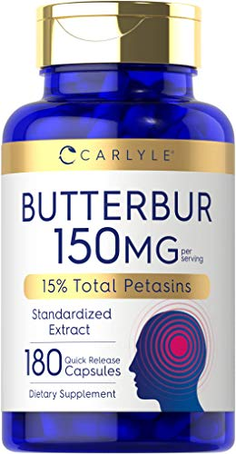 Carlyle Butterbur Extract Standardized 150 mg 180 Capsules – Migraine Headache Formula – Non-GMO, Gluten Free, PA Free