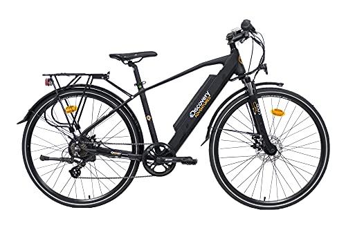 """Discovery E8200, Bicicletta a pedalata assisita, Trekking Bike con Ruote da 28"""" e Forcella Ammortizzata, Cambio Shimano 7 velocità Uomo, Nero Opaco"""