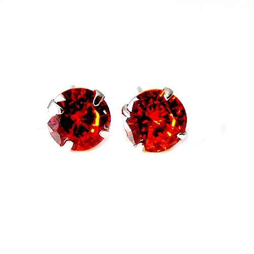 ORECCHINI PUNTO LUCE SOLITARIO IN ARGENTO RODIATO ORO BIANCO CON ZIRCONE RUBY RED ( RUBINO ROSSO ) 5 MM - Argento 925
