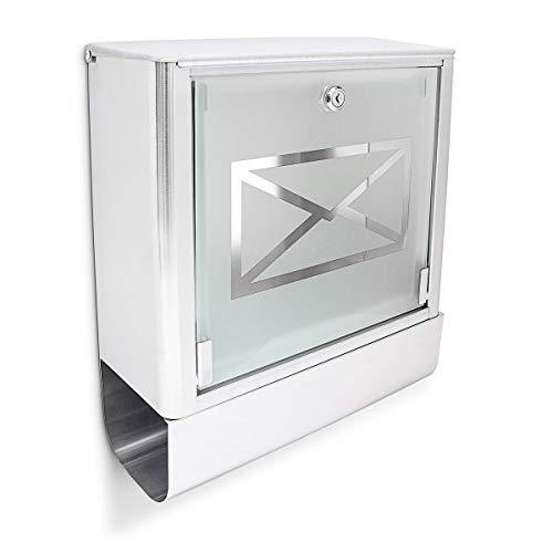 Relaxdays Briefkasten mit Zeitungsfach, Postkasten aus Edelstahl und Glas, Mit Motiv, HBT: ca. 40 x 35 x 14 cm, silber / grau