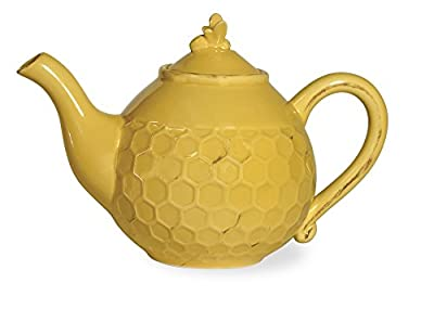Boston International Embossed Ceramic Teapot, 3-Cup Capacity, Honeycomb