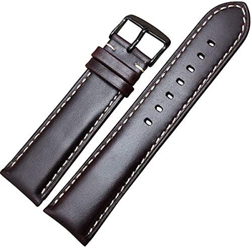 PINGZG Pin de Cuero Hebilla Relojes Relojes Hombres Mujeres Pulsera 18-24mm Reloj Correa de Banda WiHT Hebilla Pulida de Plata, cómodo Transpirable (Color : Dark Brown Black, Size : 22MM)