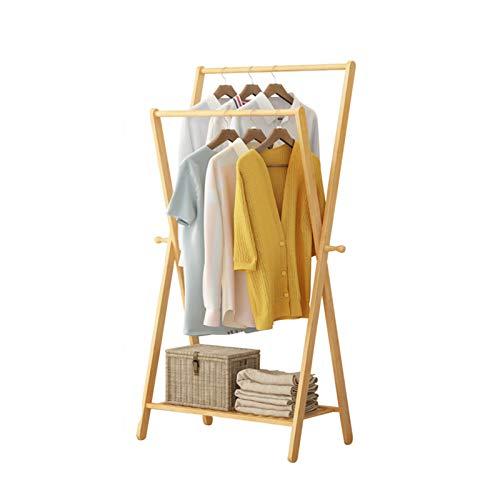 Yimaojia Chunlan Doble Perchero Polo Perchero De Bambú para Piso Perchas con 2 Ganchos Laterales Fácil De Montar para Dormitorio Sala De Estar(Color:Color de Registro)