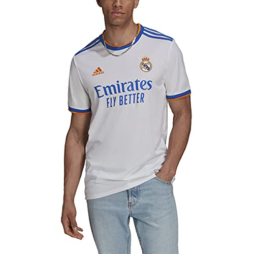 adidas Mens Real Madrid 2021-22 Home Jersey (White, XX-Large