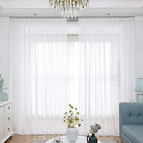 Window White Sheer Curtains 84 Inches Long 2 Panels Sheer White Curtains Clear Curtains Basic Rod Pocket Panel Other Beige Grey Purple Pink 63 72 95 108 Inch Bedroom Children Living Room Yard Kitchen