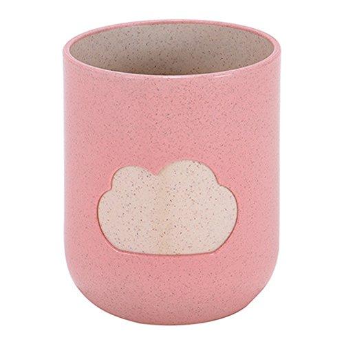 Kentop Zahnputzbecher Kinder Mundwasser Tasse Reise Wasser Tasse, Weizenstroh, Wolkenmuster Design (Rosa)