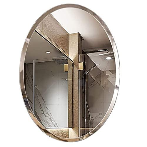 FMOGE Espejos De Tocador Montados En La Pared Espejo De Baño Espejos De Tocador Montados En La Pared Espejo De Maquillaje Biselado Sin Marco Ovalado para Baño Pasillo De Baño (Tamaño: 45 Cm X 60 Cm)