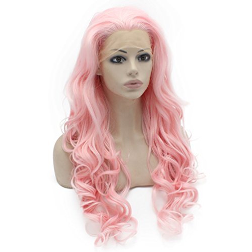 Mxangel Long Wavy Celebrity Synthetic Lace Front Pink Cosplay Party Wig