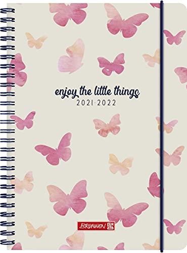 "BRUNNEN 1072155042 Schülerkalender 2021/2022 (18 Monate) ""Butterfly"" 2 Seiten = 1 Woche, Blattgröße 14,8 x 21 cm, A5, PP-Einband"