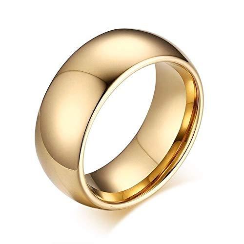 CHCO Carburo De Tungsteno 8 Mm Anillo De Anillo De Bodas De Cúpula Pulida para Hombres Joyas De Compromiso En Oro Rosa Dorado 7 Tono Dorado