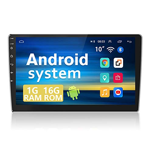 Android Car Stereo Double Din 10.1 Inch Touch Screen Car GPS Navigation Stereo Bluetooth Car Stereo WiFi FM Radio Receiver 2 Rear USB Support Android/iOS Mirror Link, SWC + 12LEDs Backup Camera …