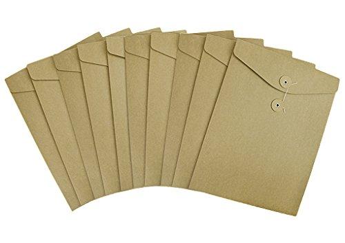 Pack 10 A4 Kraft File Bag Paper Envelope Brown Document Portfolio Pocket Organizer Folder with Button Closure